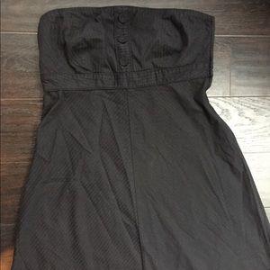 Navy blue strapless A line dress